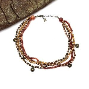Cookie Lee Earth Tone Multi Strand Beaded Necklace